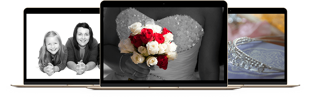 laptops with images North East Wedding Photographer