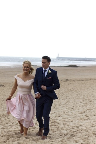 Bride and Groom on Beach - North East Wedding Photographer.jpg