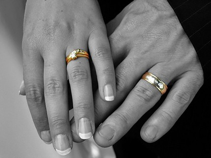 Bride and Groom Hands black and white with rings in colour - North East Wedding Photographer.jpg