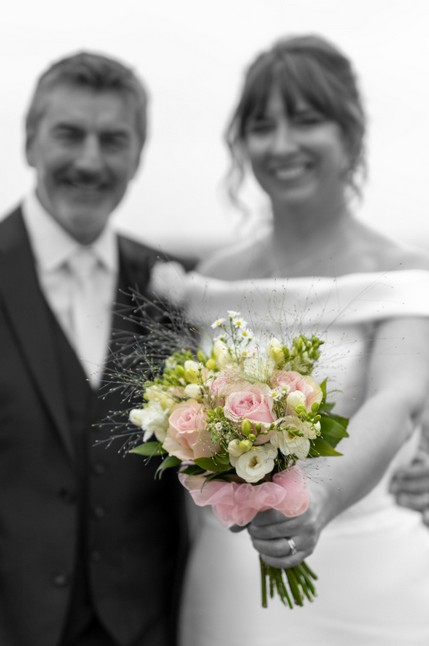 Bride and Groom Showing Bouquet - North East Wedding Photographer.jpg