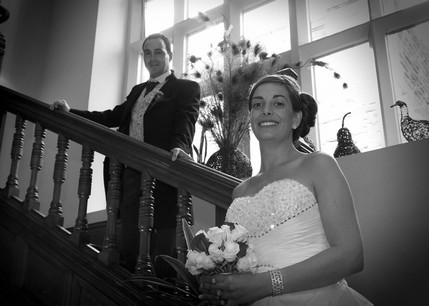 Bride and Groom on Stairs at Jesmond Dene House  - North East Wedding Photographer.jpg