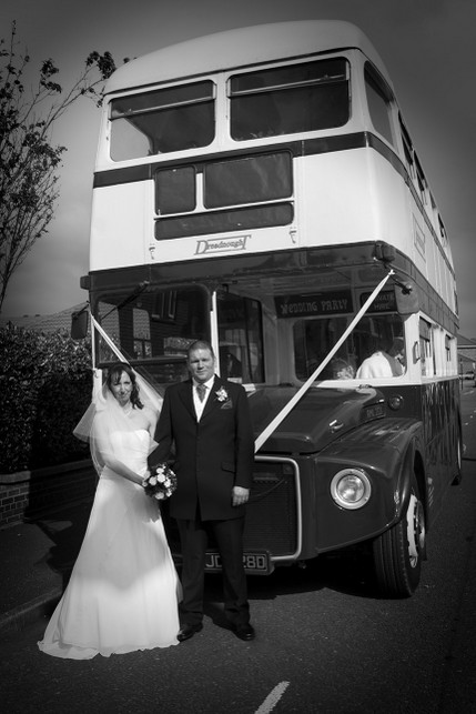 Bride and Groom with Wedding Bus - North East Wedding Photographer.jpg