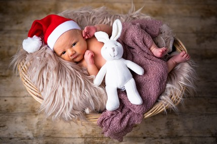 Newborn baby in Christmas basket - North East Wedding Photographer.jpg.jpg